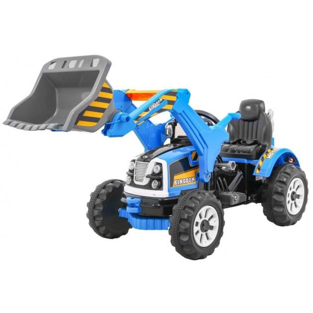 Elektrický traktor s radlicou JS328A - modrý